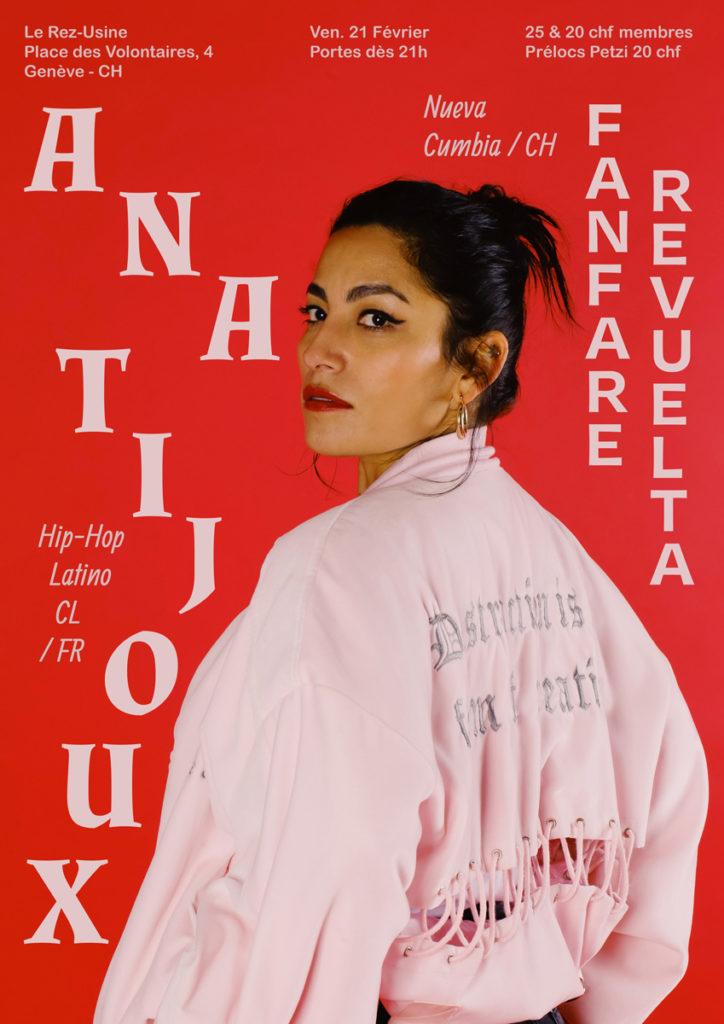 Poster concert Ana Tijoux - Le Rez-Usine Genève - Chili support
