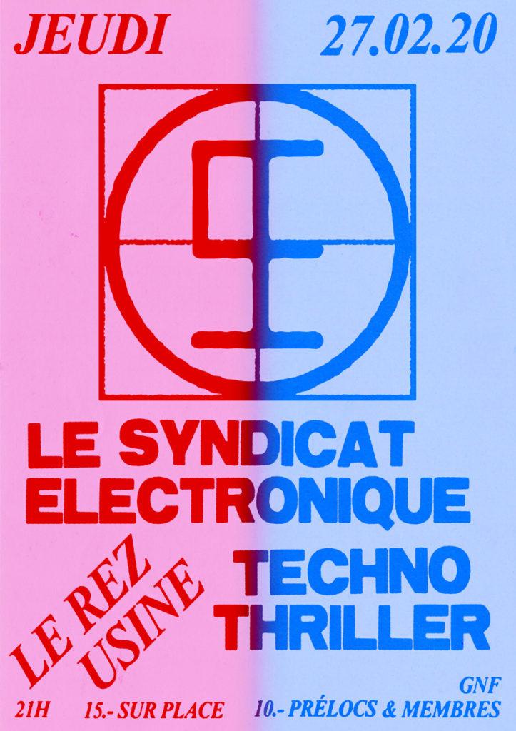 Concert Le Syndicat Électronique + Techno Thriller - Concert Le Rez-Usine Genève