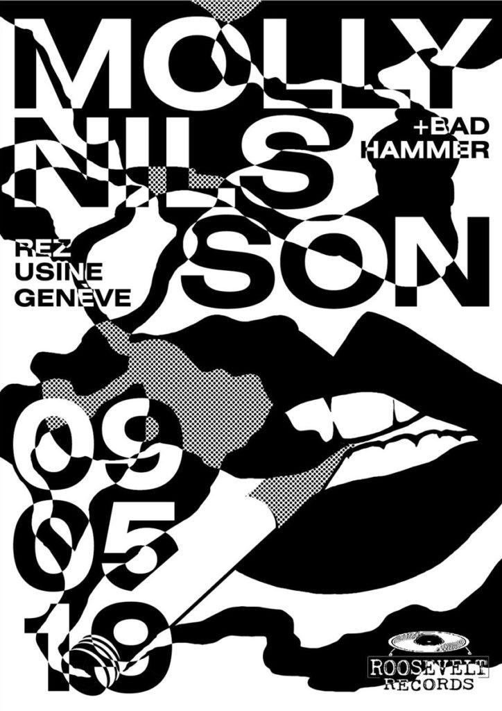 Concert Molly Nilsson + Sneaks + Bad Hammer Le Rez-Usine Genève - Affiche par Mathilde Veuthey