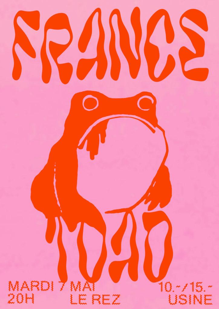 France + Toad concert poster par Félicité Landrivon - Le Rez-Usine