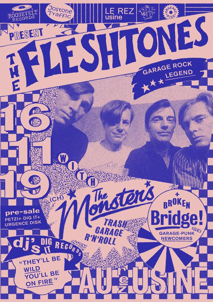 Affiche / Poster The Fleshtones Le Rez-Usine Genève