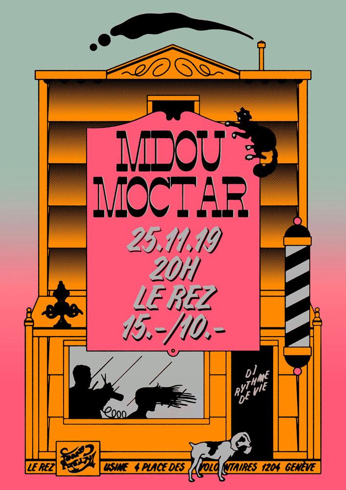 Affiche/Poster concert Mdou Moctar Rez-Usine Genève 2019