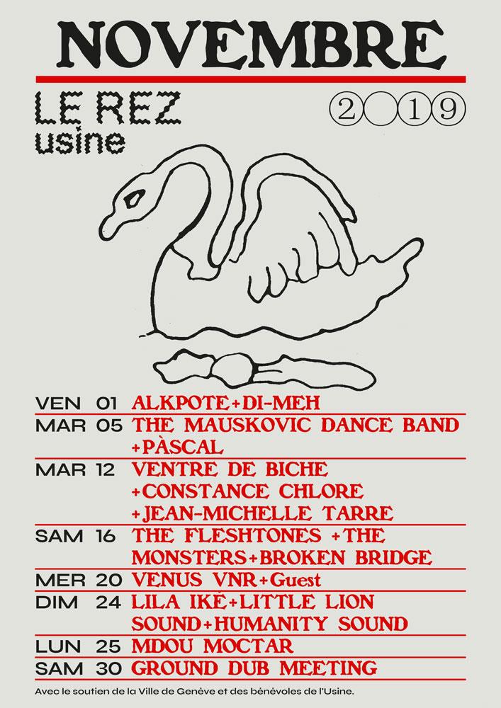 Le Rez-Usine affiche programme novembre 2019